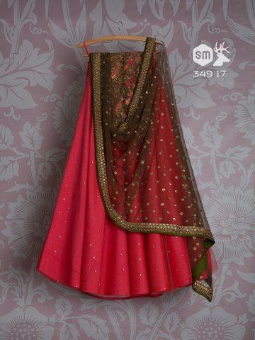 Rose Red lehenga by Swati Manish