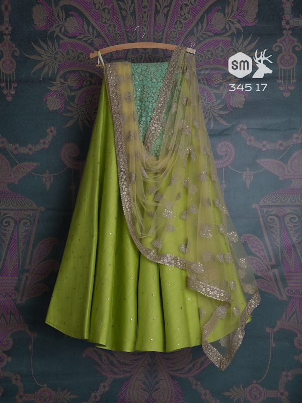 Grass green lehenga with light blue blouse