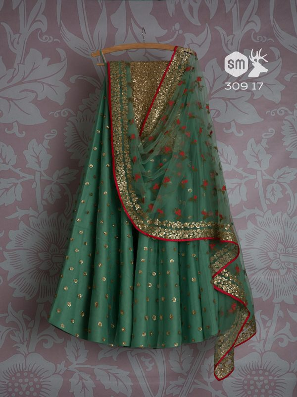 Fern green lehenga with red embroidery on dupatta