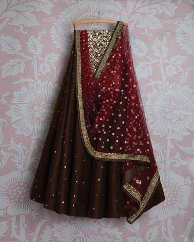 Coffee brown lehenga by Swati Manish