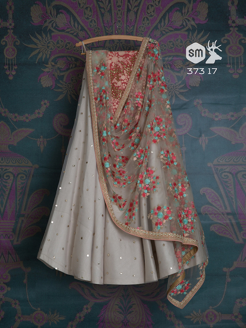 Bridesmaid - Grey lehenga with floral threadwork dupatta