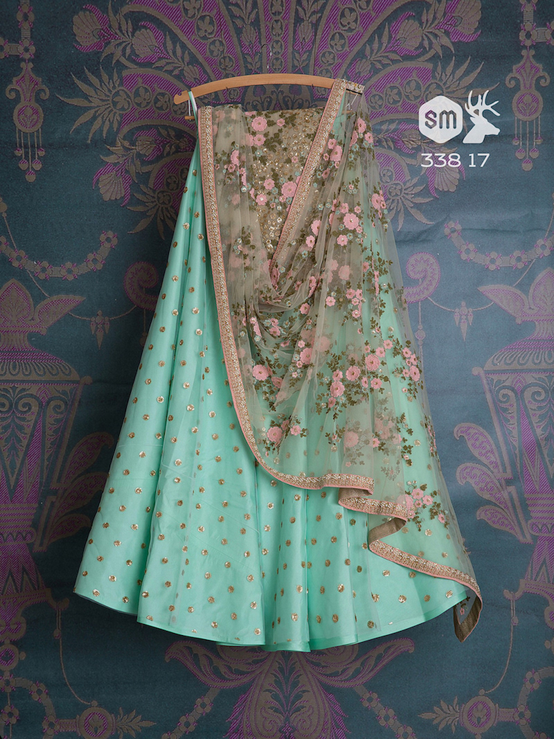 Blue lehenga with floral embroidered dupatta