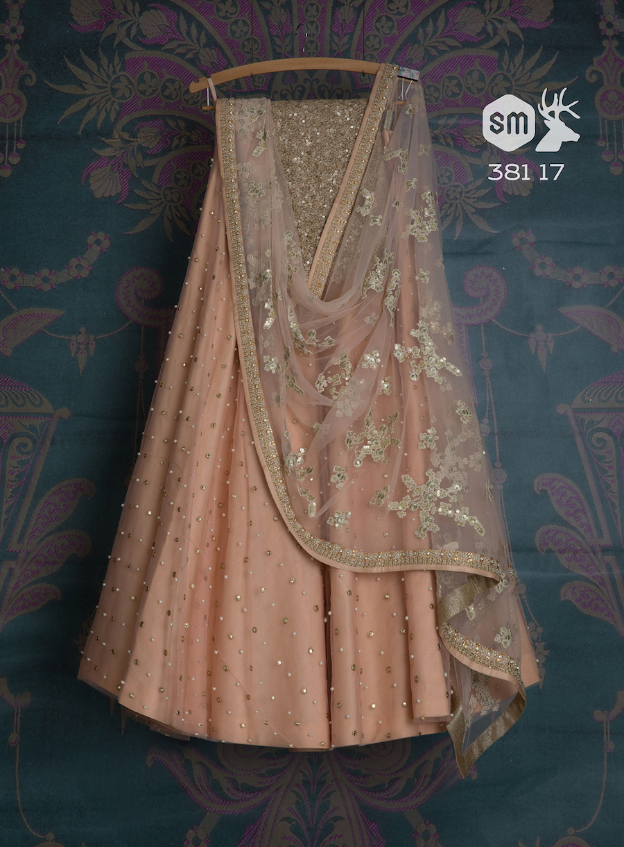 Pink pastel lehenga with peark work sequin blouse