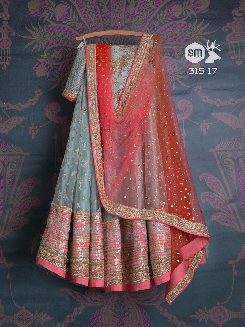 Blue lehenga with pink and golden border