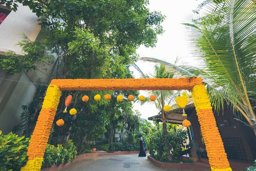 Wedding enterance decor with Marigold Flowers