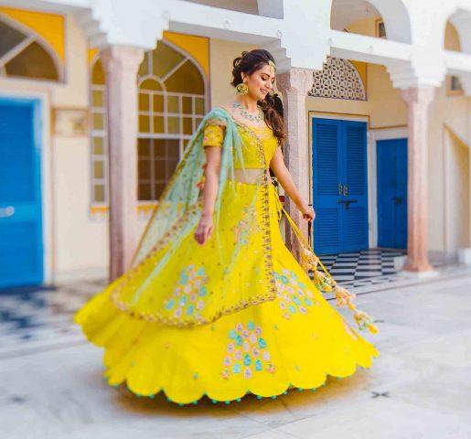 Yellow bridal lehenga