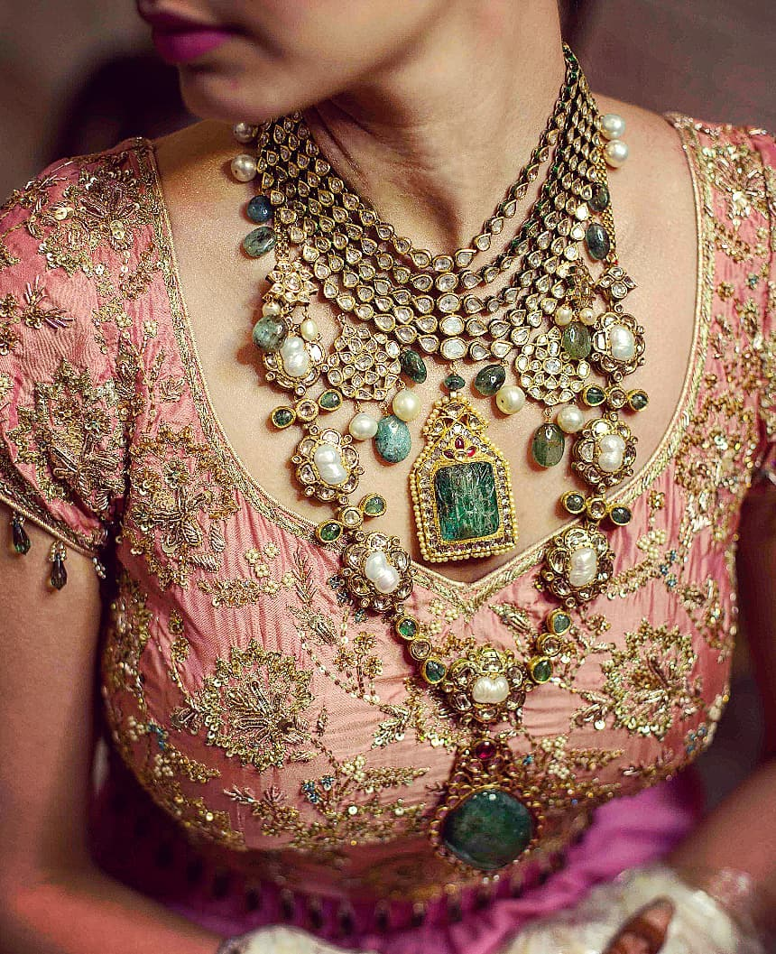 Gem- stone necklace- Bridal Jewellery for Indian Brides