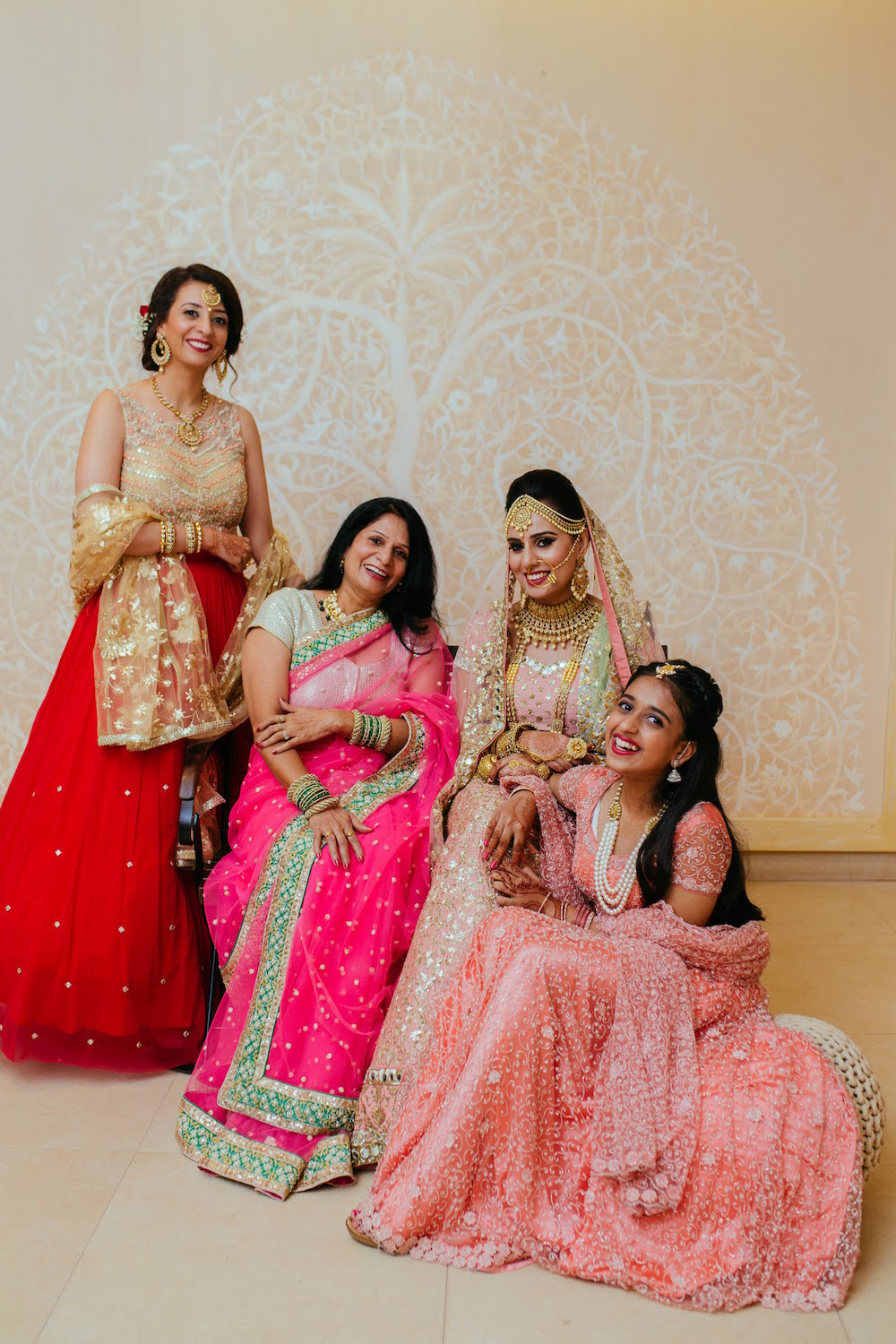 Family Portrait with Bridesmaids- Indian Wedding Photography