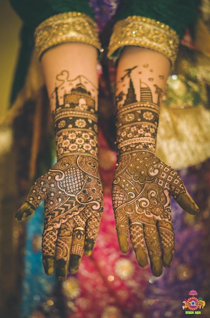 latest bridal mehndi designs - add hometown details to a full hand mehendi design for bride