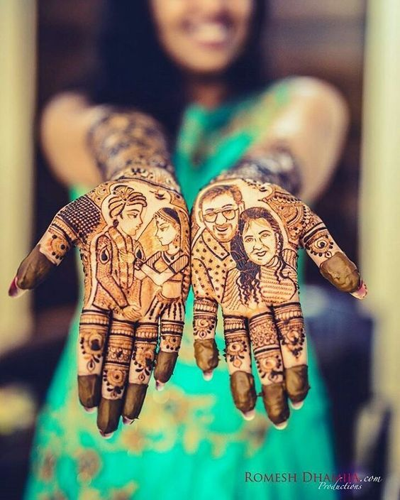 Mehandi design images- Caricatures in Bridal Mehandi