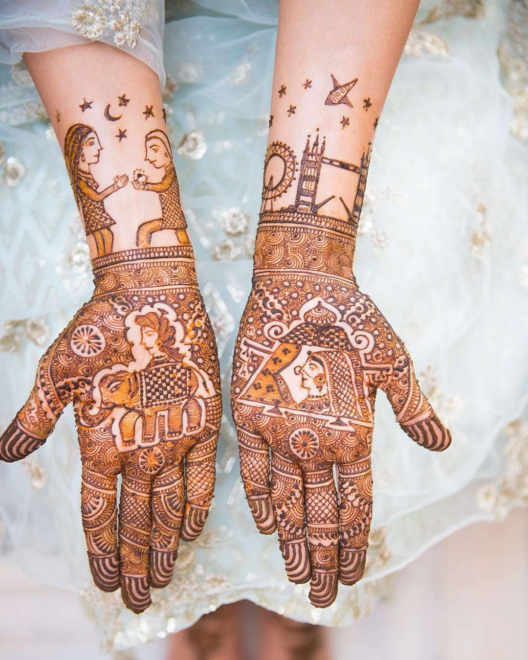 Latest bridal mehndi ideas- adding love stories in Mehndi