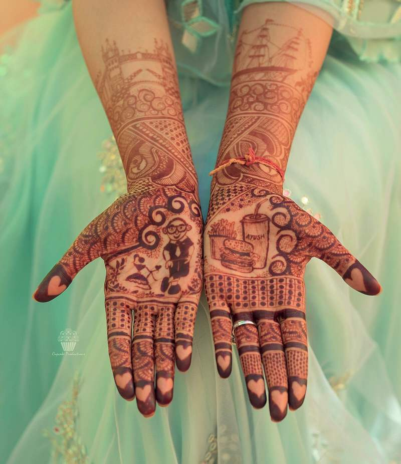 mehndi design 2018- Adding love story to bridal mehndi