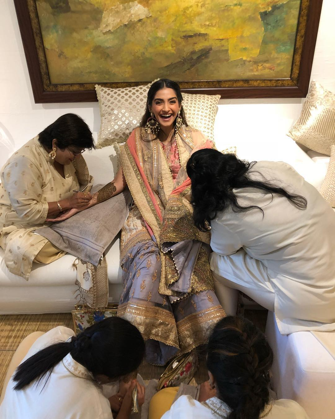 Sonam Kapoor's Mehendi Outfit- Purple and Orange Sharara by Anuradha Vakil