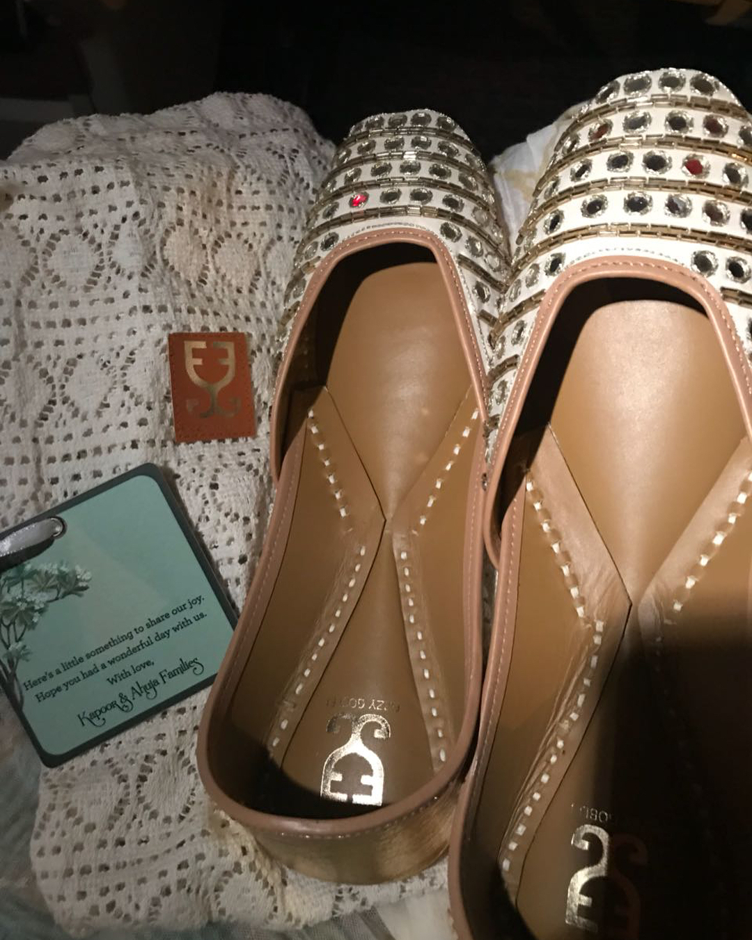 Sonam Kapoor's wedding return gifts - juttis from Fizzy Goblet with a personalised message