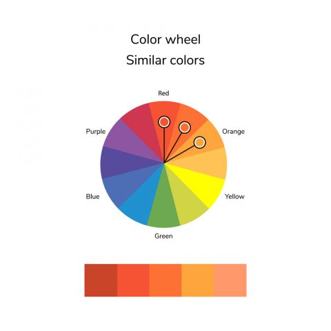 Colours similar to each other on the colour wheel