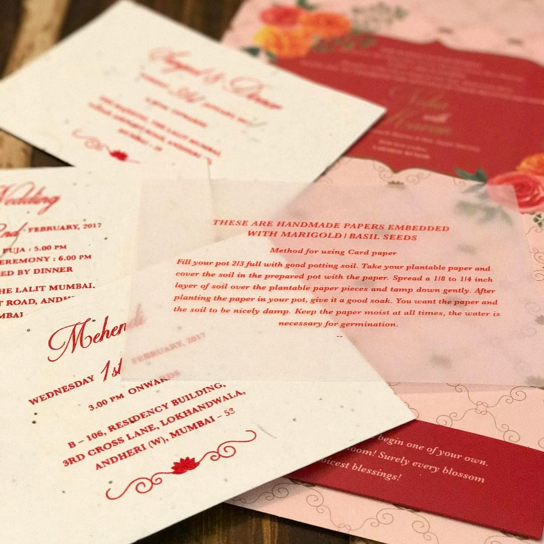 seed paper invite - unique wedding invitations indian made from handmade paper embedded with basil and