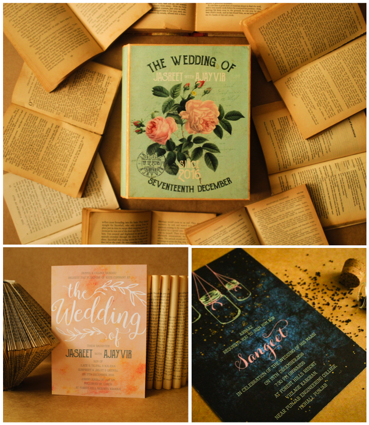 mint green, peach, and white innovative wedding cards in the form of a book - with a fireflies in the night theme Sangeet insert