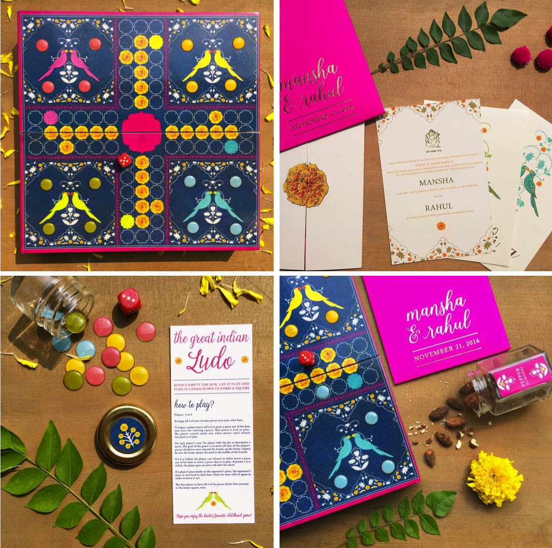 unique wedding invitations indian that have childhood board game Ludo included in the card