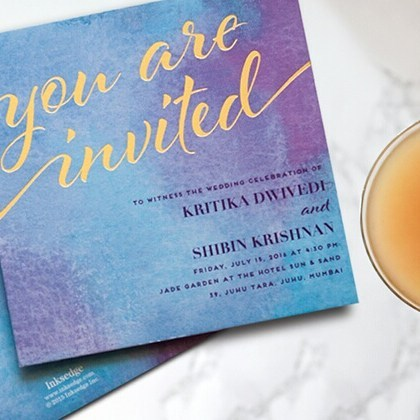 modern wedding invitation wording where couple is in host line