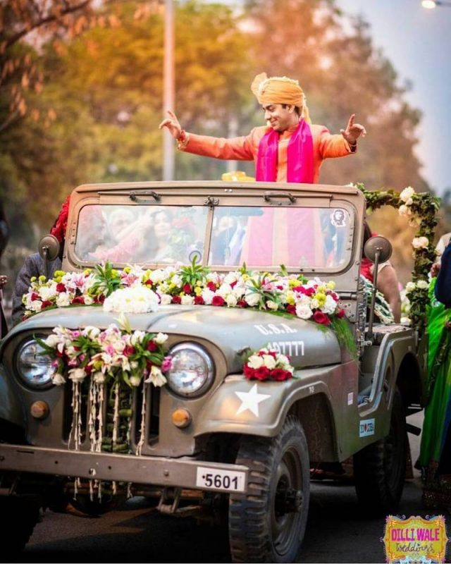 groom entry idea - in a jeep