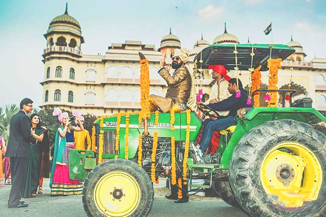 Dulha entry on a tractor