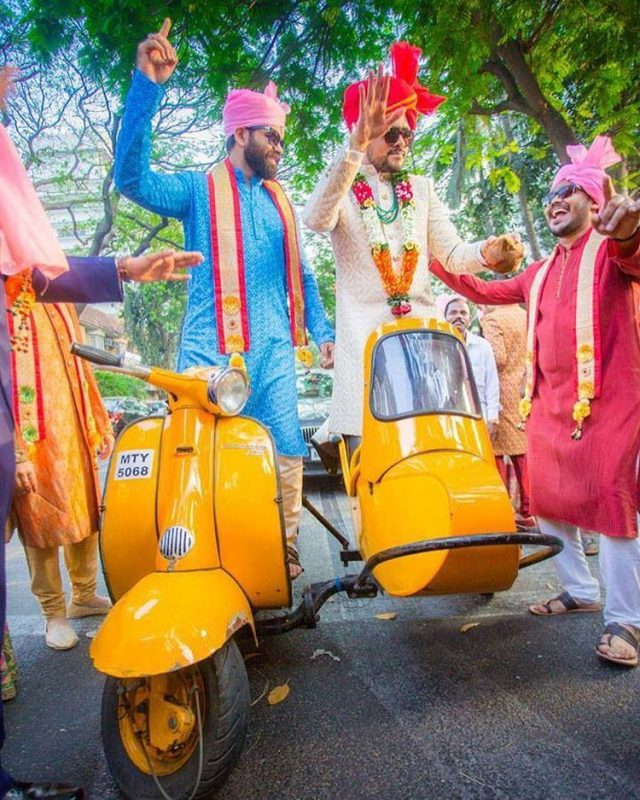 unique dulha entry on scooter with sidecar