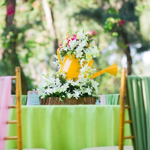 Watering can centrepieces