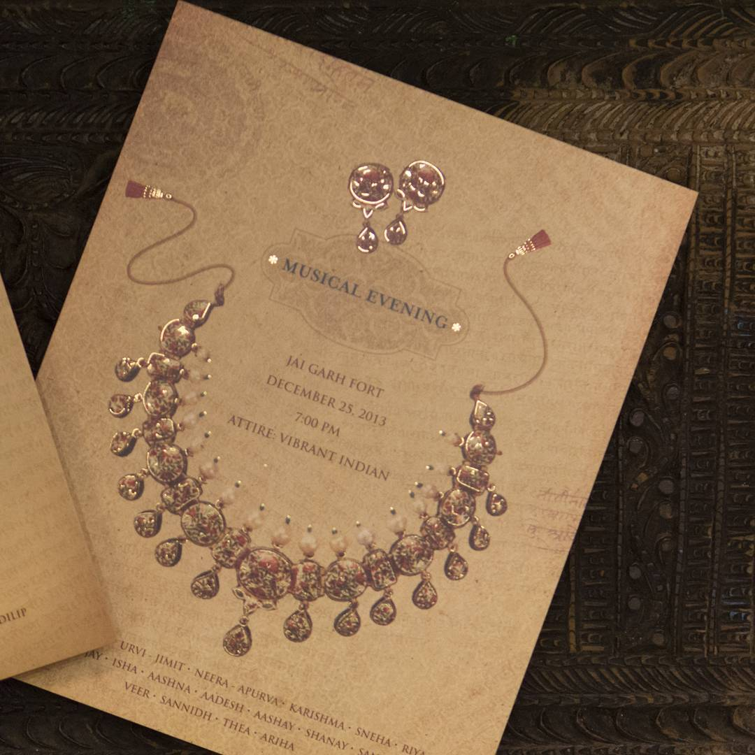 unique wedding invitations - jewellery theme