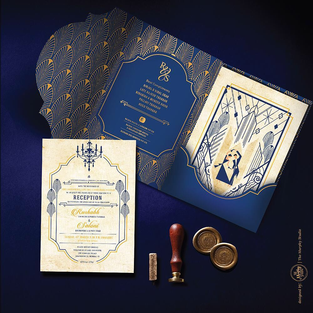 unique wedding invitations for Reception Great Gatsby art deco theme