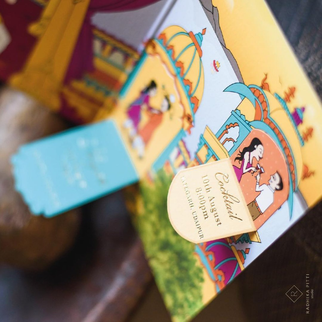Unique wedding invitations - Lift the flap colourful Indian marriage card