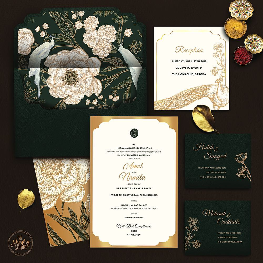 unique wedding invitations with bold envelope liner and peacock plus floral theme