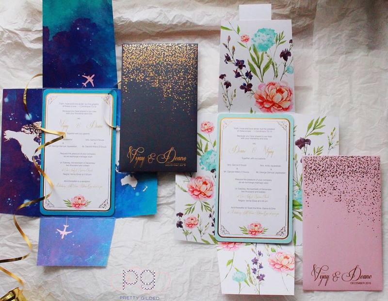 unique wedding invitations - his and her suite with florals and for a pilot