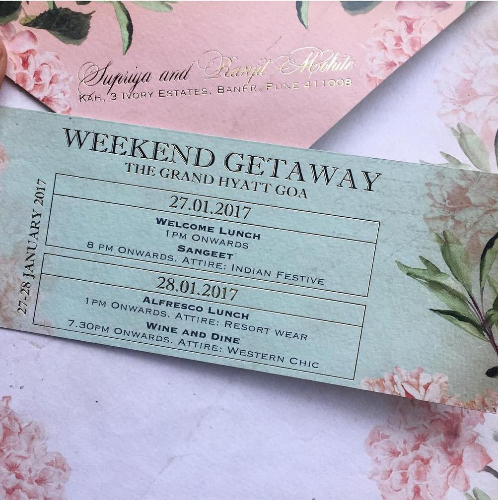 Creative wedding invitation design - a weekend getaway pass with all details on a single insert