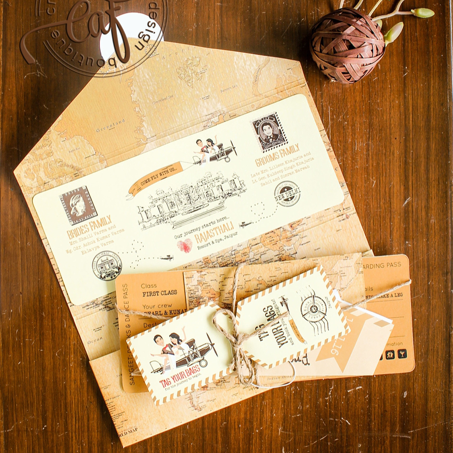 Creative wedding invitation - boarding pass for Destination Wedding in India