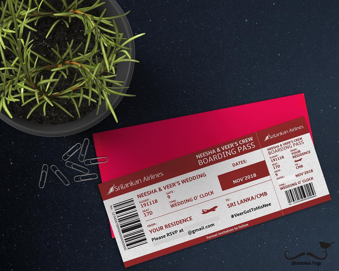 creative wedding invitation - boarding pass for destination wedding in Sri Lanka