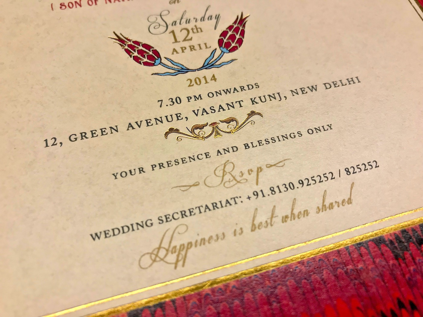 "no gifts please wording wedding invitation - say ""your presence and blessings only"" on """