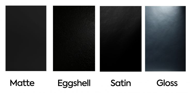 matte eggshell satin and gloss wall paints