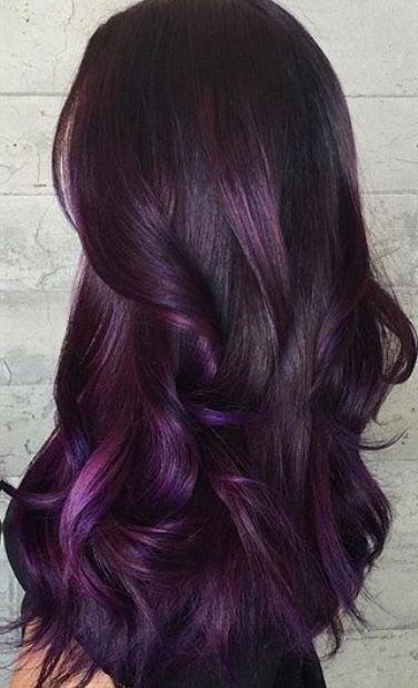 deep purple burgundy hair color shade