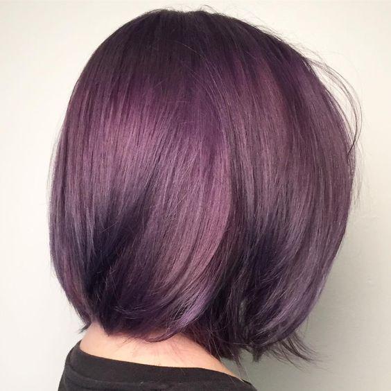 metallic lavender burgundy hair color shade