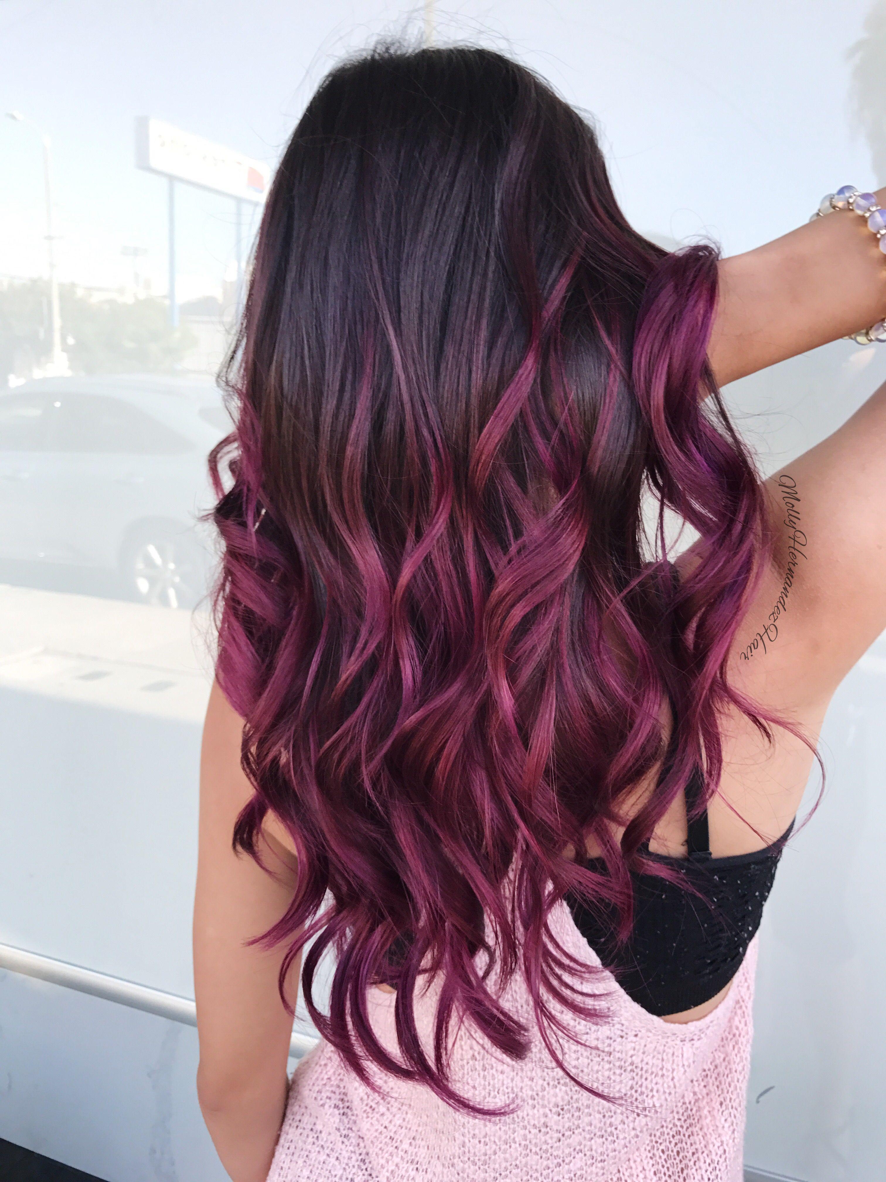 magenta burgundy hair color shade