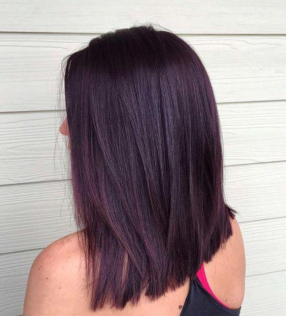 black cherry burgundy hair color shade