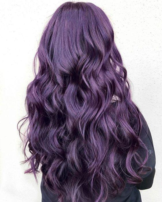 aubergine burgundy hair color shade