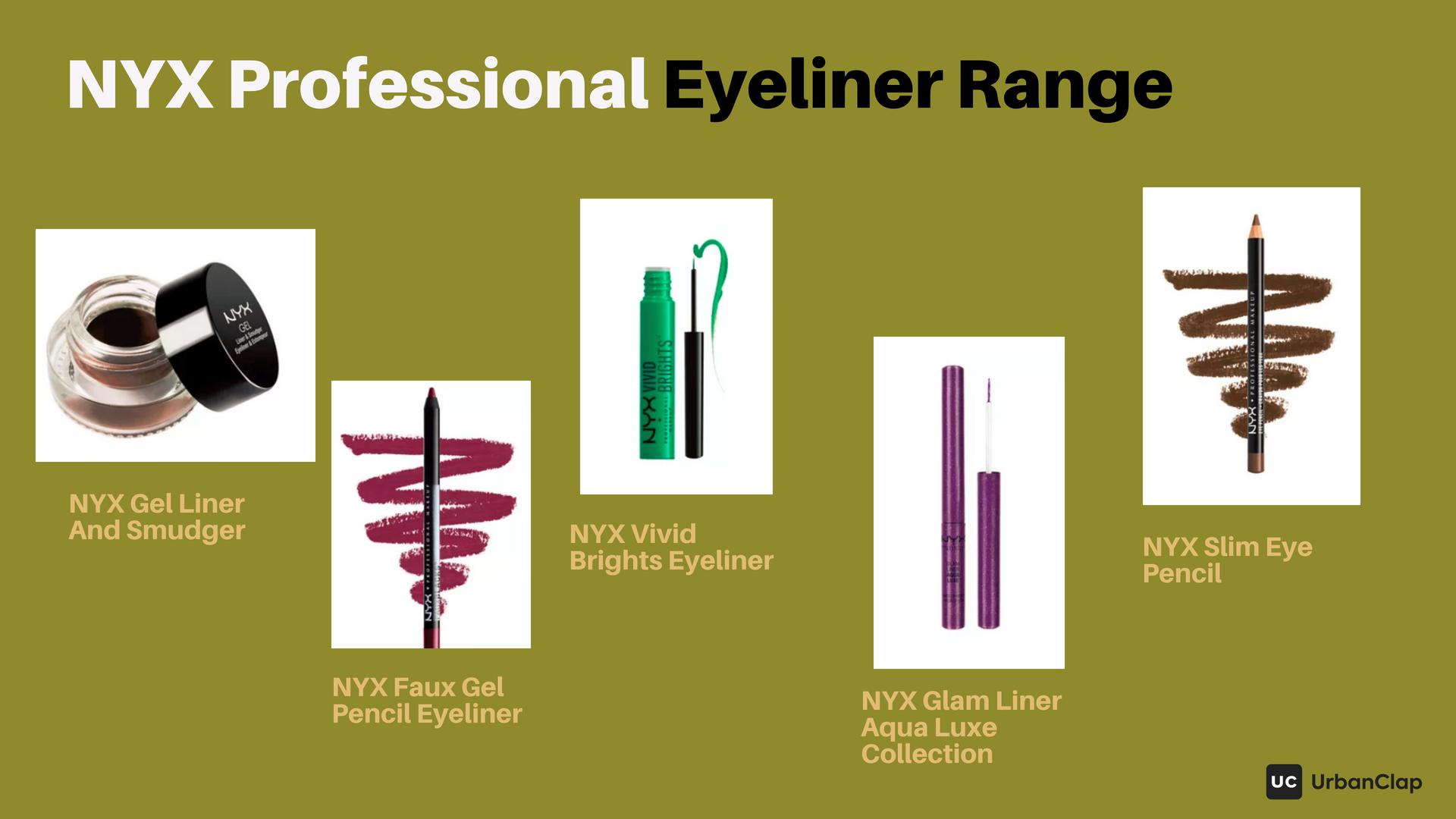 NYX Eyeliner Range - gel eyeliner, pencil eyeliner and liquid eyeliner pens
