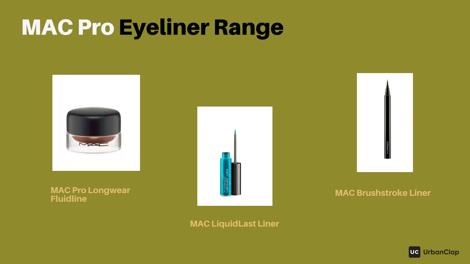 MAC eyeliner range includes gel pots and liquid eyeliners