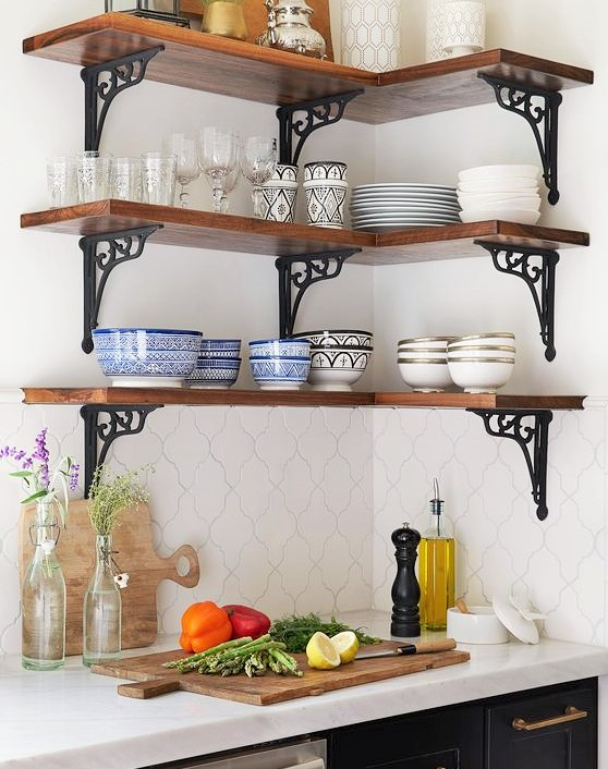 small kitchen design with open shelving