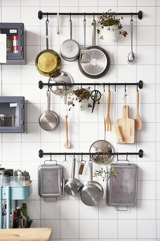 open storage for pots and pans