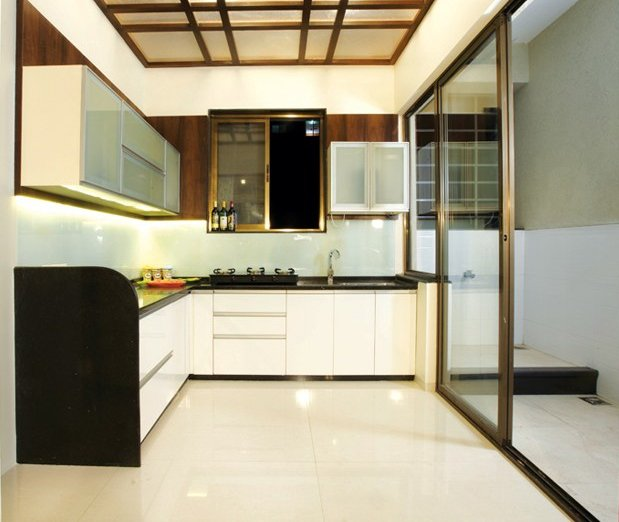 glass doors in small kitchen