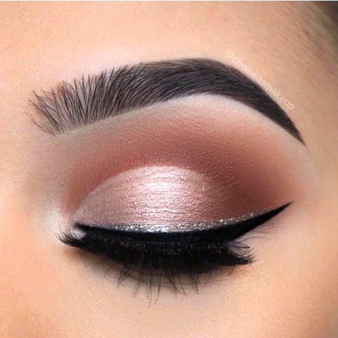 light pink eyeshadow glitter eyeliner