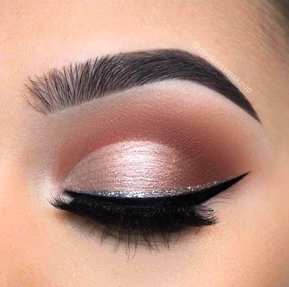 light pink eyeshadow glitter eyeliner