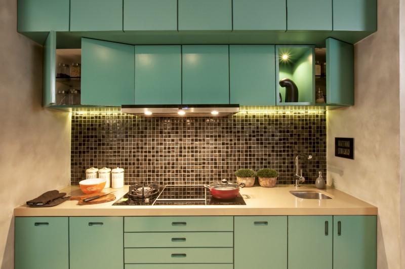 coloured kitchen cabinet design
